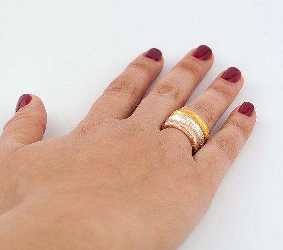 Gold silver band, Textured band ring, Gold plated texture band - Handmade with love from Greece
