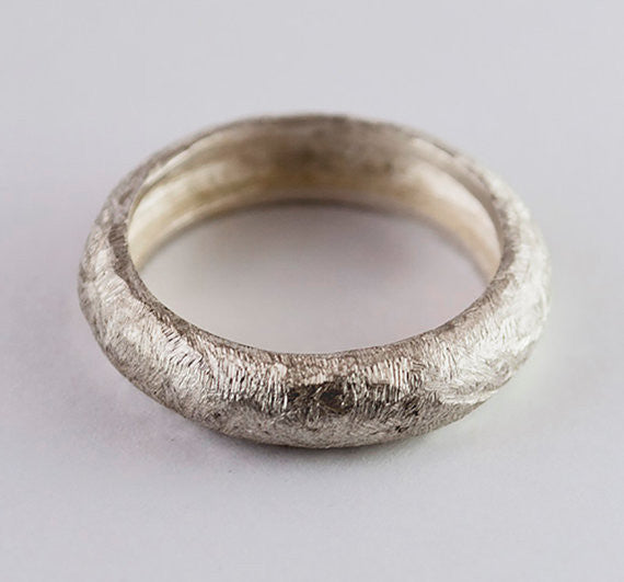 Silver distressed texture hammered band rings made in Greece