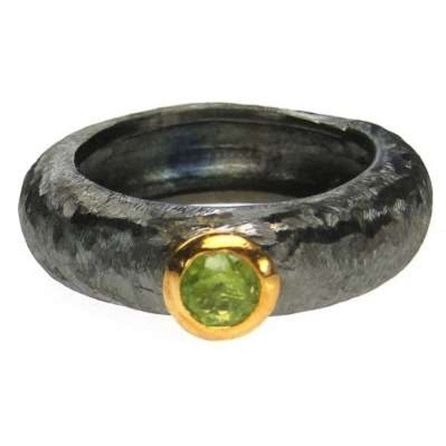Peridot Solitaire Band Ring Black Rhodium Silver Peridot Ring