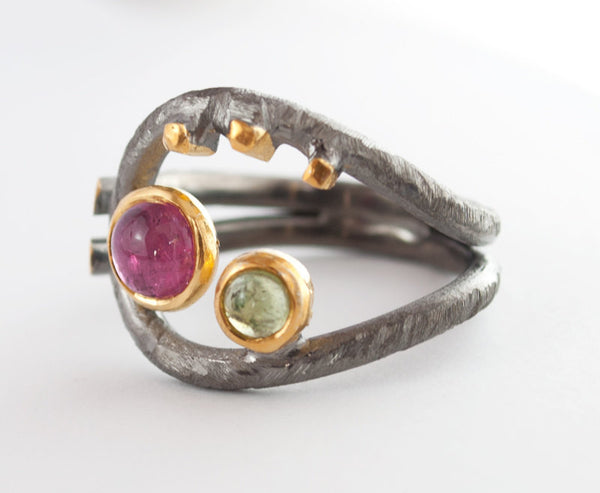 Artisan ring pink tourmaline peridot hammered silver ring - Handmade with Love - Eleni Pantagis