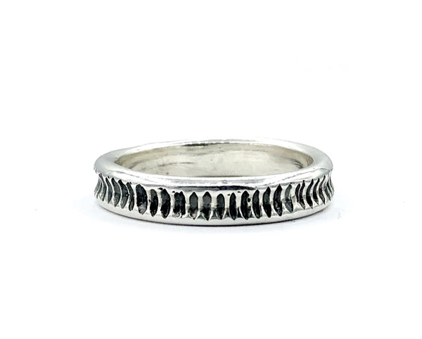 Men's silver thin band oxidized textured thin men's ring  contemporary silver band