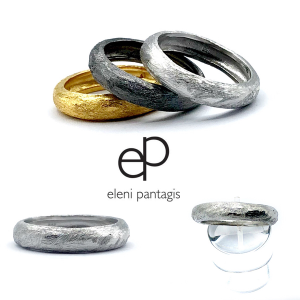 Silver stacking rings, Hammered stacked bands Rough texture band