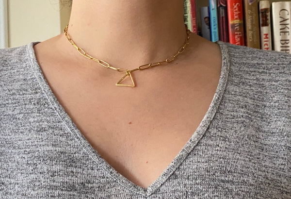 paper click choker necklace gold with trangle