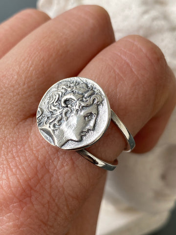 Alexander the great ring, Alexander coin ring, Alexander the great jewelry