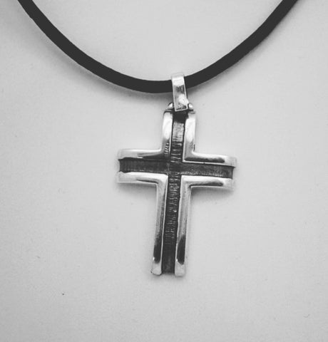 Men's silver cross leather rope, oxidized silver cross pendant