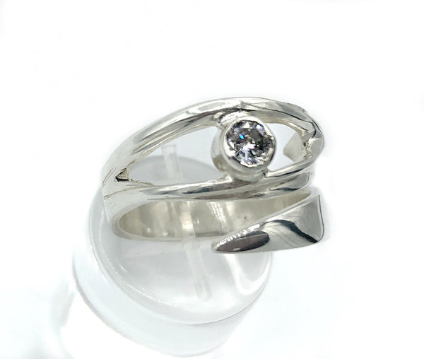 Zircon silver ring, zircon ring, eye ring, silver eye ring with clear stone ring