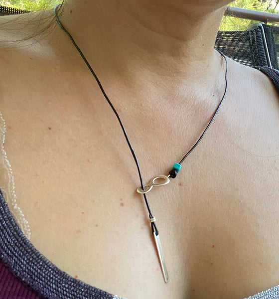 Silver Lariat necklace eternity and bar black leather necklace with turquoise stone