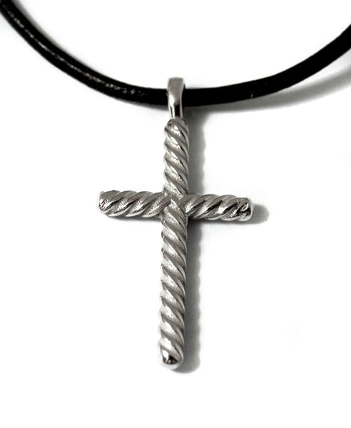 Sterling silver rope cross with leather cord
