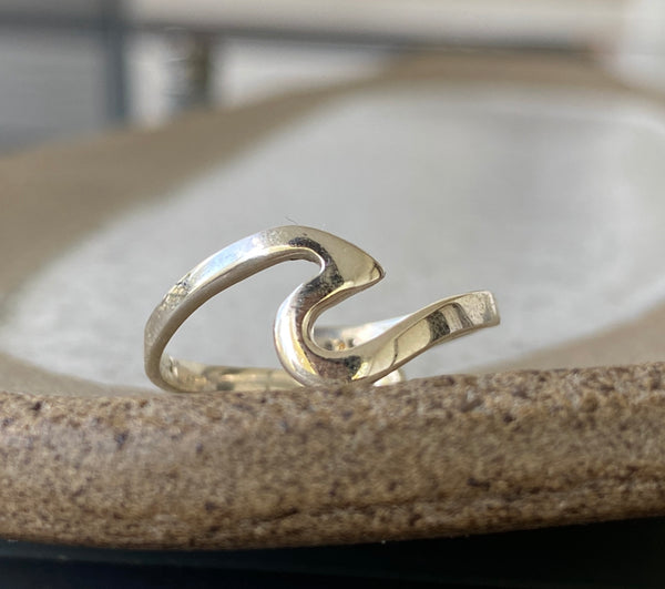 Ocean wave ring, silver ring adjustable, dainty silver ring