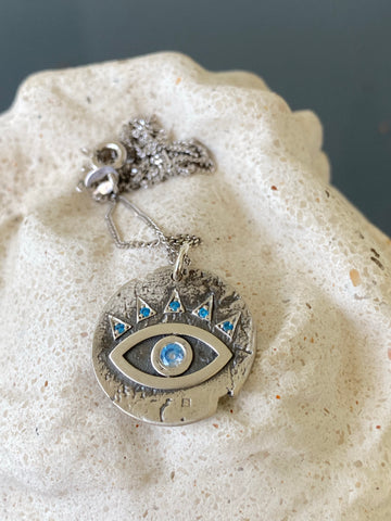 Evil eye necklace coin, evil eye with blue gemstones