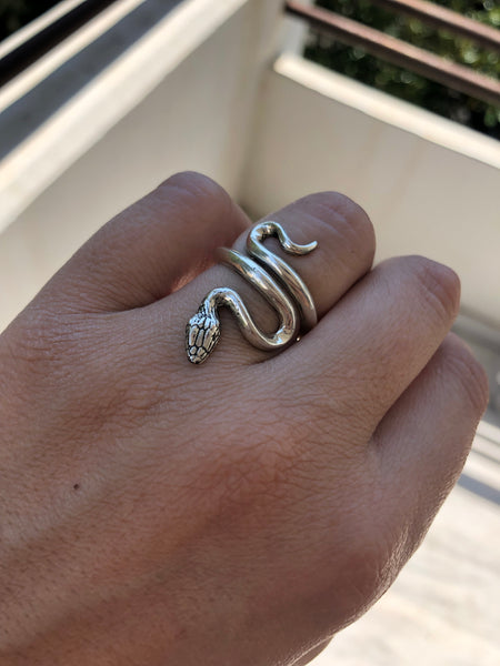 Snake ring sterling silver s shape snake wrap ring