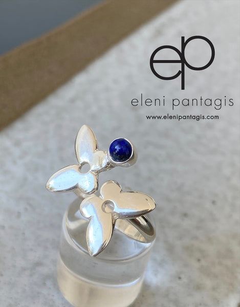 Silver butterfly ring, butterfly ring with gemstone blue lapis ring