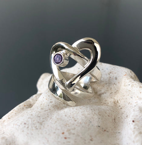 Heart ring, contemporary silver heart amethyst stone, adjustable heart ring