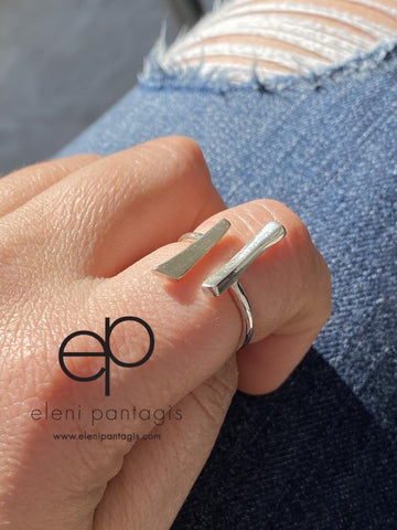 Parallel bar ring, silver adjustable ring