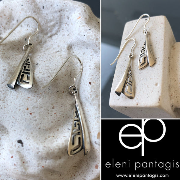 Greek earrings silver, dangling silver earrings triangle shape