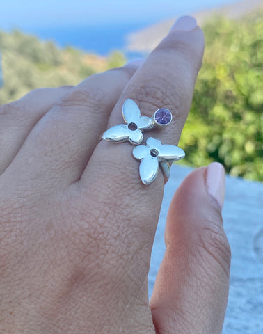 silver butterfly ring, adjustable butterfly ring amethyst ring