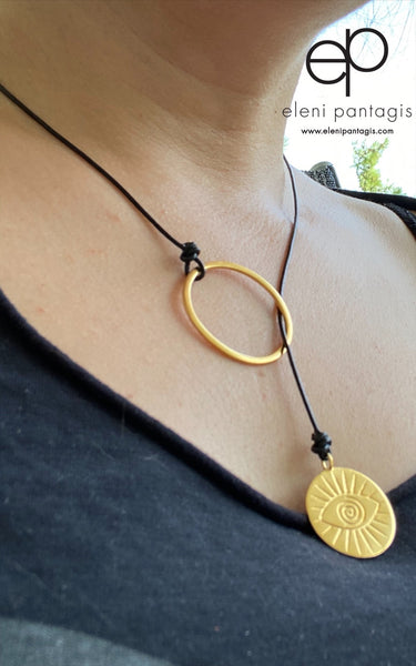 Gold Evil eye Circle lariat necklace women's fashion necklace