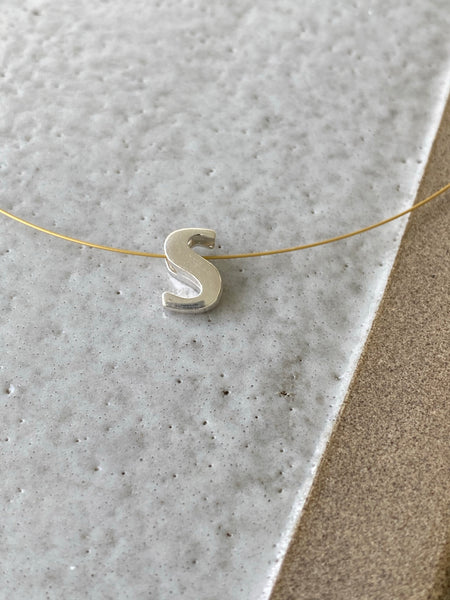 Letter necklace silver, silver initial necklace