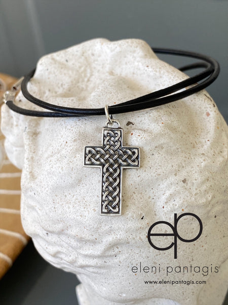 Silver cross, Celtic cross, braided cross