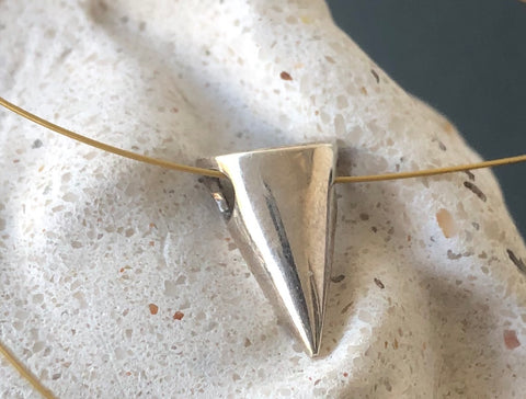 Geometric cone shape necklace sterling silver