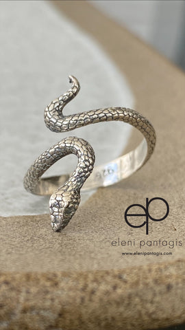 Silver snake ring, snake ring, handmade s shape snake ring, adjustable snake ring