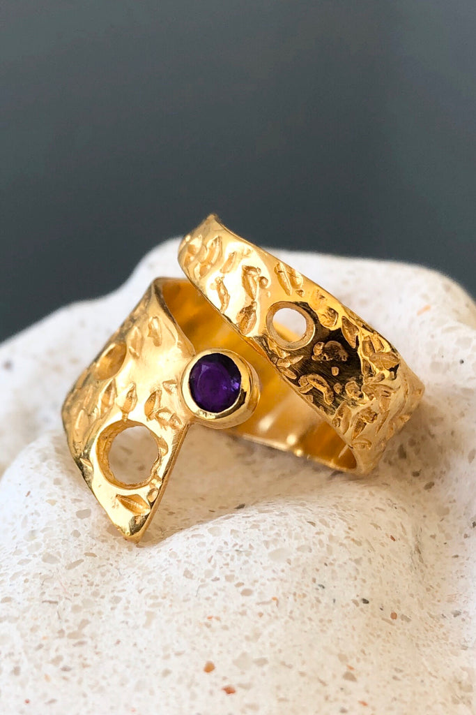 Wide spiral silver ring amethyst gemstone ring gold plated