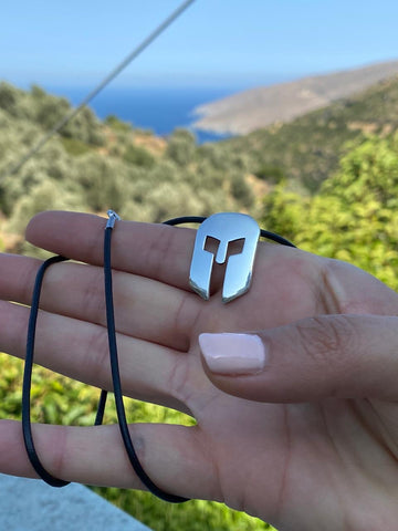 Spartan necklace silver with leather cord, silver spartan helmet necklace