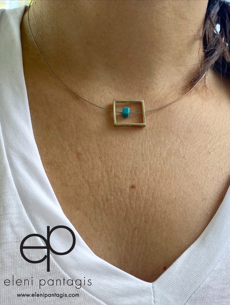 Silver square necklace with turquoise on a stainless steel wire