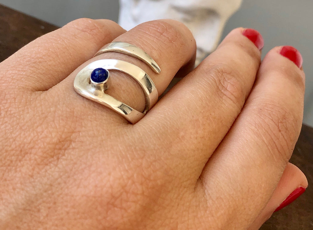 Lapis lazuli ring, adjustable silver ring, blue stone ring