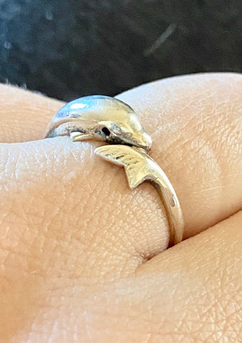 silver dolphin ring, handmade dolphin ring