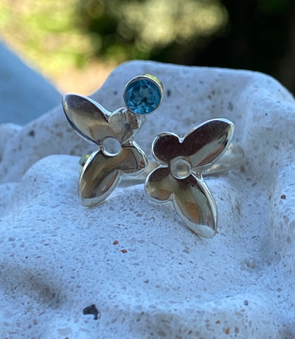 Silver butterfly ring, butterfly ring with gemstone blue topaz ring