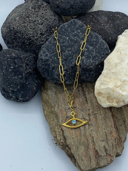 evil eye necklace gold paper clip chain choker