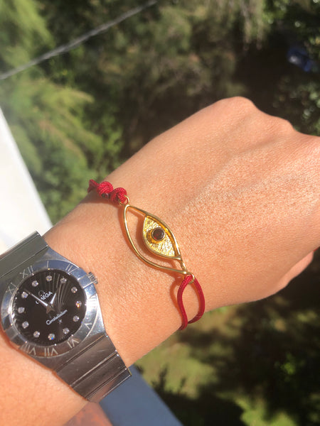 Evil eye bracelet red gold, garnet evil eye bracelet with red nylon cord