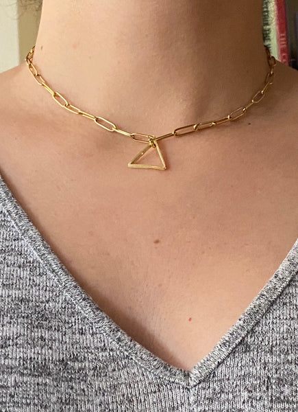 triangle necklace gold paper clip necklace