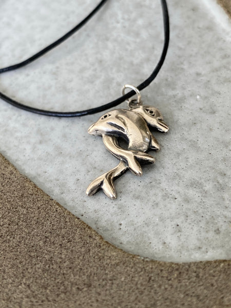 Silver Dolphin necklace two dolphin hugging