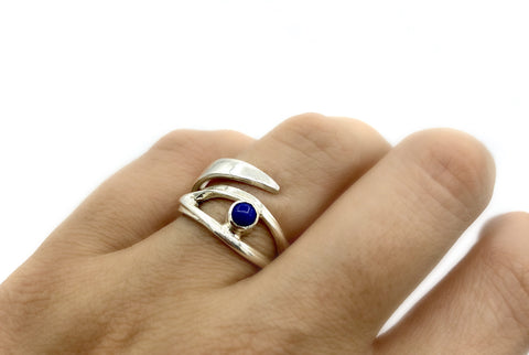 blue lapis silver ring, eye ring, blue stone ring, blue lapis ring