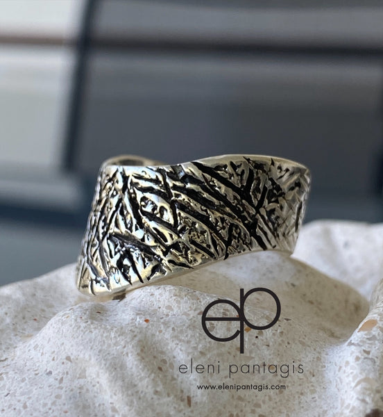Wide silver ring, unique silver ring, textured silver ring