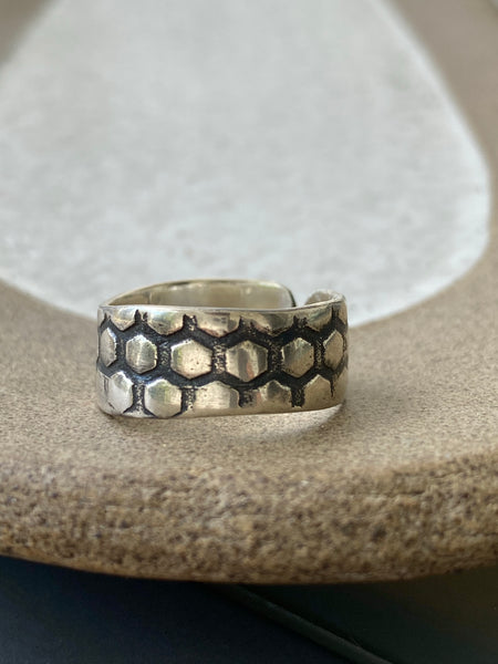 Silver ring, oxidized ring handmade adjustable