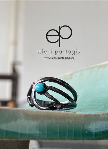 Black ring with turquoise gemstone women's fashion ring