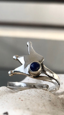 princess crown ring, queen crown ring silver ring, blue lapis ring