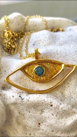 Evil eye pendant gold, sterling silver blue topaz gemstone evil eye