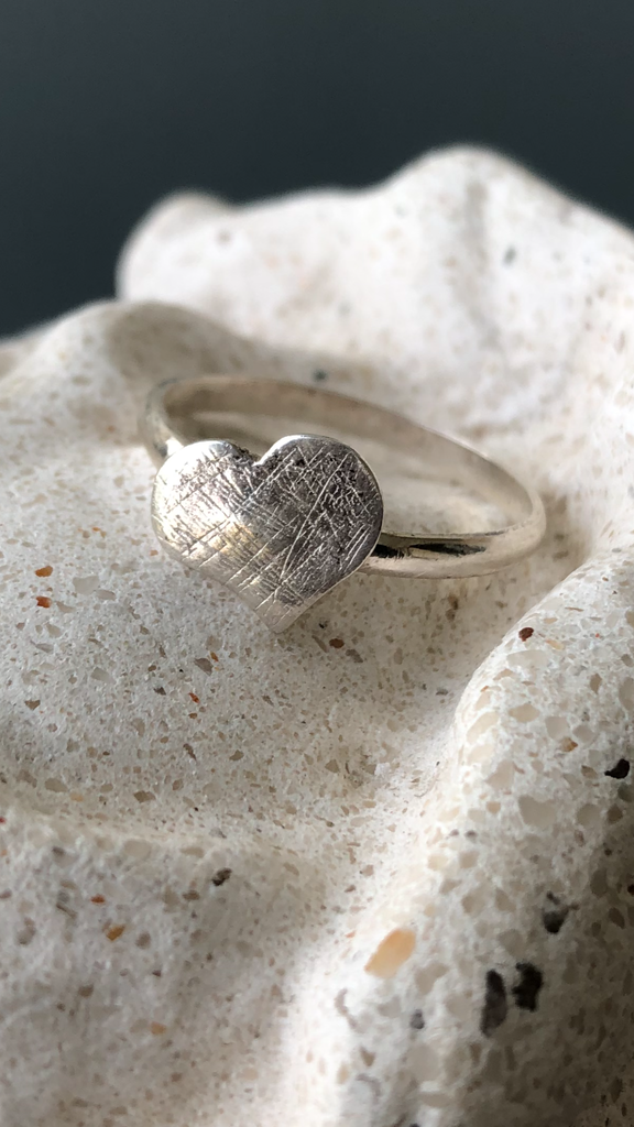 Silver heart ring, textured heart ring
