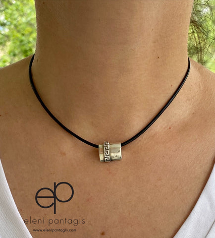 Greek necklace, Greek key necklace silver