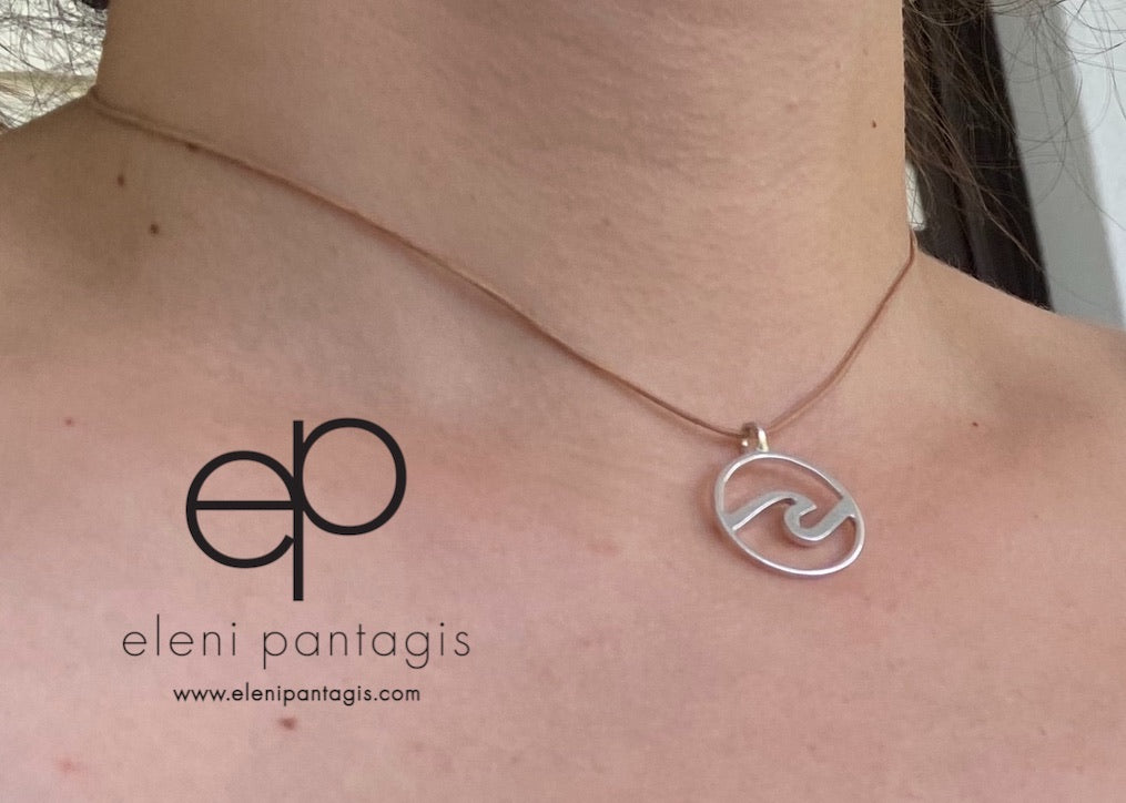 Wave necklace silver, wave pendant surfer's gift