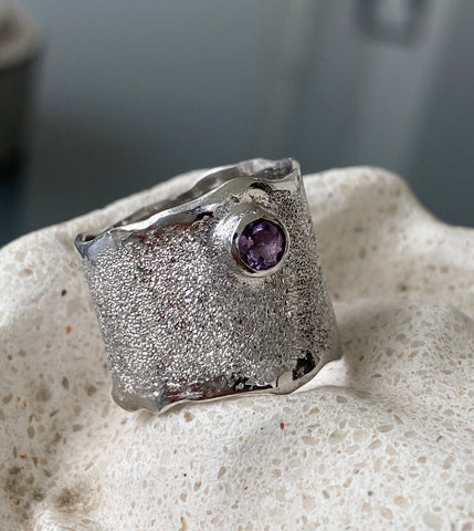 Amethyst Silver ring, Amethyst Solitaire ring wide silver rough silver ring