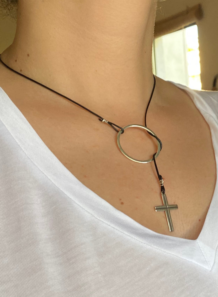 Circle lariat with cross necklace women's fashion necklace