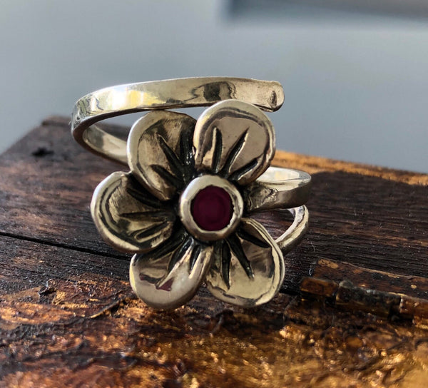 Flower ring silver, poppy flower with red garnet gemstone