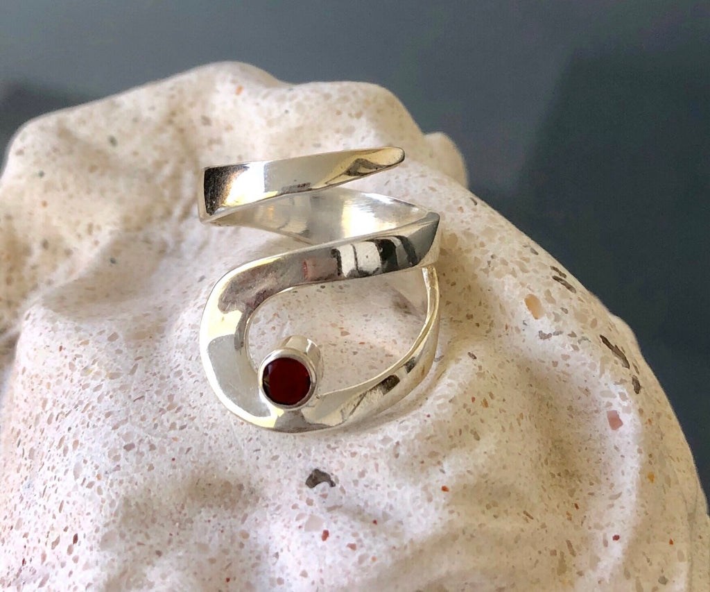 Red garnet ring silver, silver adjustable rings