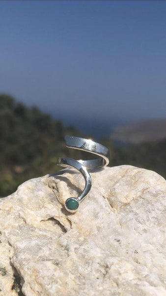 turquoise silver wave ring, turquoise ring, blue green stone silver ring