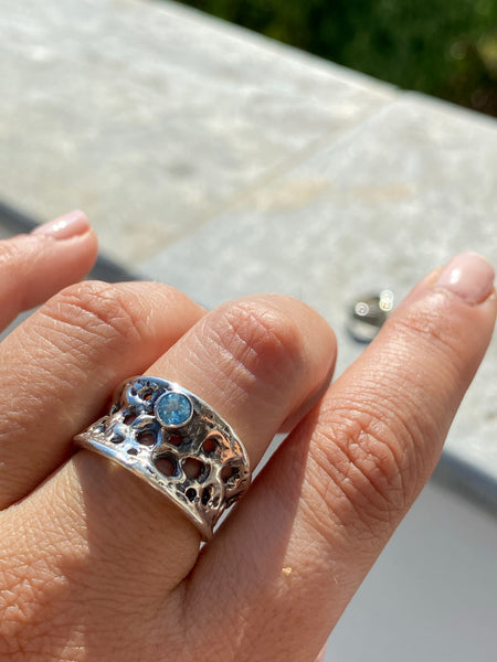 handmade silver ring adjustable blue topaz ring